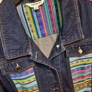 Jeans Jacket with Colorful Fabric Accents, Size XL